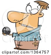 Cartoon Clipart Of A Caucasian Man Holding An Eight Ball Royalty Free Vector Illustration