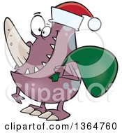 Cartoon Clipart Of A Happy Christmas Monster Wearing A Santa Hat And Carrying A Sack Royalty Free Vector Illustration