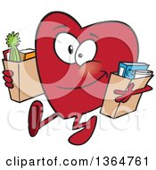 Cartoon Clipart Of A Giving Heart Character Carrying Bags Of Groceries To Donate Royalty Free Vector Illustration by Ron Leishman