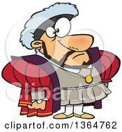 Cartoon Clipart Of A King Henry Standing And Facing Slightly Right Royalty Free Vector Illustration