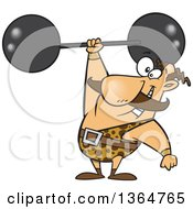 Cartoon Clipart Of A Caucasian Strongman Entertainer Holding A Barbell Over His Head Royalty Free Vector Illustration by toonaday