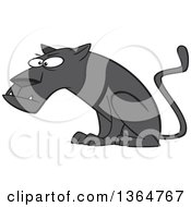 Cartoon Clipart Of A Curious Black Panther Big Cat Sitting Royalty Free Vector Illustration