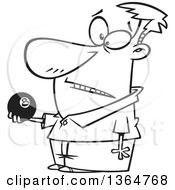 Cartoon Clipart Of A Black And White Man Holding An Eight Ball Royalty Free Vector Illustration