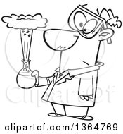 Cartoon Clipart Of A Black And White Male Scientist Holding An Exploding Concoction Royalty Free Vector Illustration