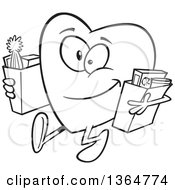 Cartoon Clipart Of A Black And White Giving Heart Character Carrying Bags Of Groceries To Donate Royalty Free Vector Illustration by toonaday