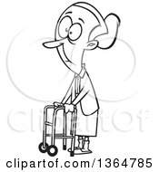 Cartoon Clipart Of A Black And White Senior Woman Using A Walker To Get Around Royalty Free Vector Illustration by toonaday