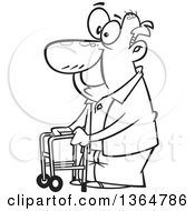 Cartoon Clipart Of A Black And White Happy Old Man Using A Walker To Get Around Royalty Free Vector Illustration