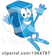 Clipart Of A Cartoon Blue Rolling Trash Can Bin Mascot Jumping Royalty Free Vector Illustration