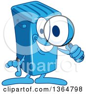 Clipart Of A Cartoon Blue Rolling Trash Can Bin Mascot Searching With A Magnifying Glass Royalty Free Vector Illustration by Toons4Biz