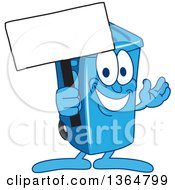 Clipart Of A Cartoon Blue Rolling Trash Can Bin Mascot Holding A Blank Sign Royalty Free Vector Illustration by Toons4Biz