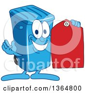 Cartoon Blue Rolling Trash Can Bin Mascot Holding A Red Price Tag