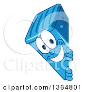 Clipart Of A Cartoon Blue Rolling Trash Can Bin Mascot Smiling Around A Sign Royalty Free Vector Illustration by Toons4Biz