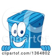 Clipart Of A Cartoon Blue Rolling Trash Can Bin Mascot Smiling Over A Sign Royalty Free Vector Illustration by Toons4Biz