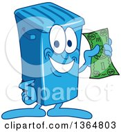 Clipart Of A Cartoon Blue Rolling Trash Can Bin Mascot Royalty Free Vector Illustration by Toons4Biz