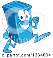 Clipart Of A Cartoon Blue Rolling Trash Can Bin Mascot Running Royalty Free Vector Illustration by Toons4Biz