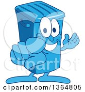Clipart Of A Cartoon Blue Rolling Trash Can Bin Mascot Presenting And Pointing Outwards Royalty Free Vector Illustration by Toons4Biz