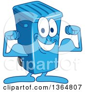 Clipart Of A Cartoon Blue Rolling Trash Can Bin Mascot Flexing Royalty Free Vector Illustration by Toons4Biz