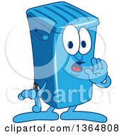 Clipart Of A Cartoon Blue Rolling Trash Can Bin Mascot Whispering Royalty Free Vector Illustration by Toons4Biz