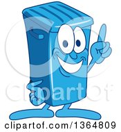 Clipart Of A Cartoon Blue Rolling Trash Can Bin Mascot Holding Up A Finger Royalty Free Vector Illustration by Toons4Biz