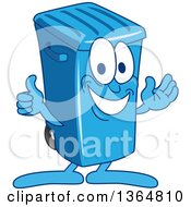 Clipart Of A Cartoon Blue Rolling Trash Can Bin Mascot Presenting And Giving A Thumb Up Royalty Free Vector Illustration by Toons4Biz