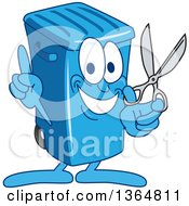 Clipart Of A Cartoon Blue Rolling Trash Can Bin Mascot Holding Up A Finger And Scissors Royalty Free Vector Illustration by Toons4Biz