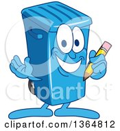 Clipart Of A Cartoon Blue Rolling Trash Can Bin Mascot Holding A Pencil Royalty Free Vector Illustration by Toons4Biz