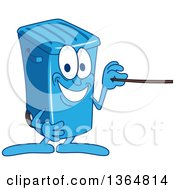 Clipart Of A Cartoon Blue Rolling Trash Can Bin Mascot Using A Pointer Stick Royalty Free Vector Illustration by Toons4Biz