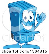 Clipart Of A Cartoon Blue Rolling Trash Can Bin Mascot Waving And Pointing Royalty Free Vector Illustration by Toons4Biz