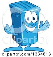 Cartoon Blue Rolling Trash Can Bin Mascot Welcoming