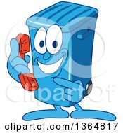 Clipart Of A Cartoon Blue Rolling Trash Can Bin Mascot Holding And Pointing To A Telephone Royalty Free Vector Illustration by Toons4Biz