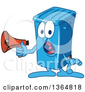 Clipart Of A Cartoon Blue Rolling Trash Can Bin Mascot Shouting Into A Megaphone Royalty Free Vector Illustration by Toons4Biz