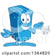 Clipart Of A Cartoon Blue Rolling Trash Can Bin Mascot Holding A Napkin Royalty Free Vector Illustration by Toons4Biz