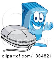Clipart Of A Cartoon Blue Rolling Trash Can Bin Mascot Waving By A Computer Mouse Royalty Free Vector Illustration