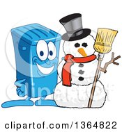 Clipart Of A Cartoon Blue Rolling Trash Can Bin Mascot With A Christmas Snowman Royalty Free Vector Illustration by Toons4Biz