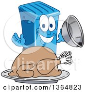 Clipart Of A Cartoon Blue Rolling Trash Can Bin Mascot Serving A Roasted Thanksgiving Turkey Royalty Free Vector Illustration by Toons4Biz