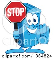 Clipart Of A Cartoon Blue Rolling Trash Can Bin Mascot Gesturing And Holding A Stop Sign Royalty Free Vector Illustration