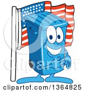 Clipart Of A Cartoon Blue Rolling Trash Can Bin Mascot Pledging Allegiance To The American Flag Royalty Free Vector Illustration by Toons4Biz
