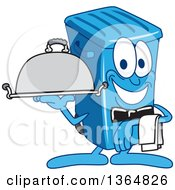 Clipart Of A Cartoon Blue Rolling Trash Can Bin Mascot Waiter Holding A Cloche Platter Royalty Free Vector Illustration by Toons4Biz