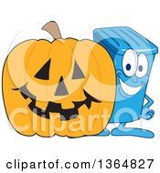 Clipart Of A Cartoon Blue Rolling Trash Can Bin Mascot By A Halloween Jackolantern Pumpkin Royalty Free Vector Illustration by Toons4Biz