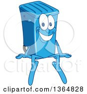 Clipart Of A Cartoon Blue Rolling Trash Can Bin Mascot Sitting Royalty Free Vector Illustration by Toons4Biz