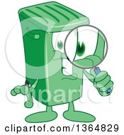 Clipart Of A Cartoon Green Rolling Trash Can Bin Mascot Searching With A Magnifying Glass Royalty Free Vector Illustration