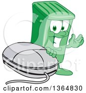 Clipart Of A Cartoon Green Rolling Trash Can Bin Mascot Presenting By A Computer Mouse Royalty Free Vector Illustration