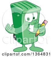 Clipart Of A Cartoon Green Rolling Trash Can Bin Mascot Holding A Pencil Royalty Free Vector Illustration