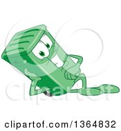 Clipart Of A Cartoon Green Rolling Trash Can Bin Mascot Resting On His Side Royalty Free Vector Illustration