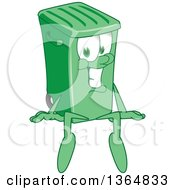 Clipart Of A Cartoon Green Rolling Trash Can Bin Mascot Sitting Royalty Free Vector Illustration