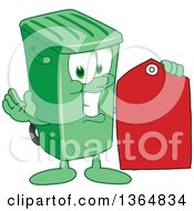 Cartoon Green Rolling Trash Can Bin Mascot Holding A Red Sales Price Tag