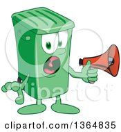 Clipart Of A Cartoon Green Rolling Trash Can Bin Mascot Screaming Into A Megaphone Royalty Free Vector Illustration