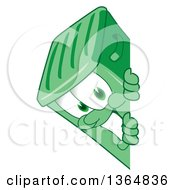 Clipart Of A Cartoon Green Rolling Trash Can Bin Mascot Smiling Around A Sign Royalty Free Vector Illustration