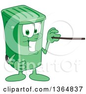 Clipart Of A Cartoon Green Rolling Trash Can Bin Mascot Using A Pointer Stick Royalty Free Vector Illustration