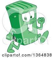Clipart Of A Cartoon Green Rolling Trash Can Bin Mascot Running Royalty Free Vector Illustration